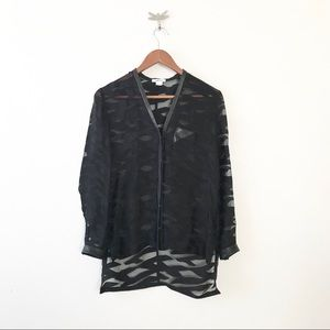 ** Hulmut Lang ** sheer button down leather trim